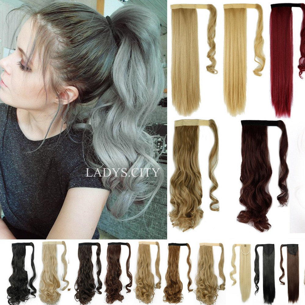 100 Natural Clip In As Human Remy Hair Extensions Pony Tail Wrap On