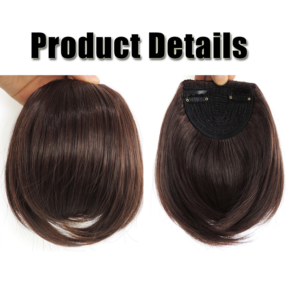 Real Natural Hair Extension Clip In Front Bangs Fringe Human Straight New