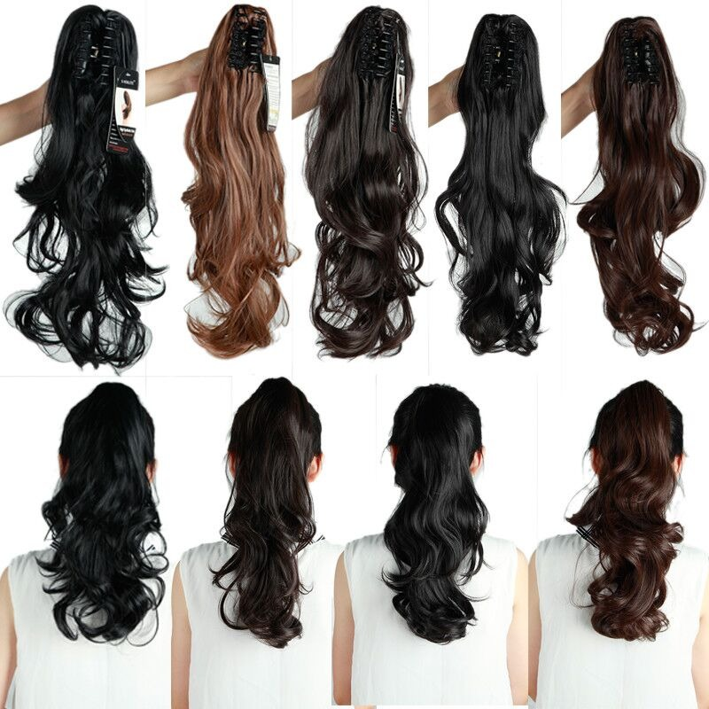 Long Straight Curly Natural Thick Claw Hair Ponytail Clip In Hair