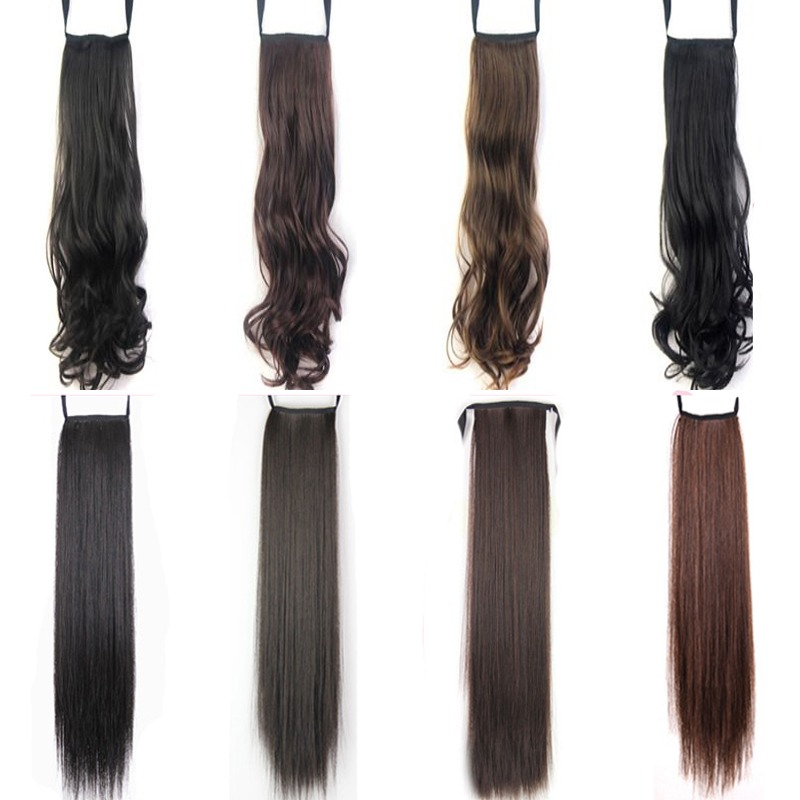 Lady Fashion Drawstring Clip In Hair Extension Braided Brown Black
