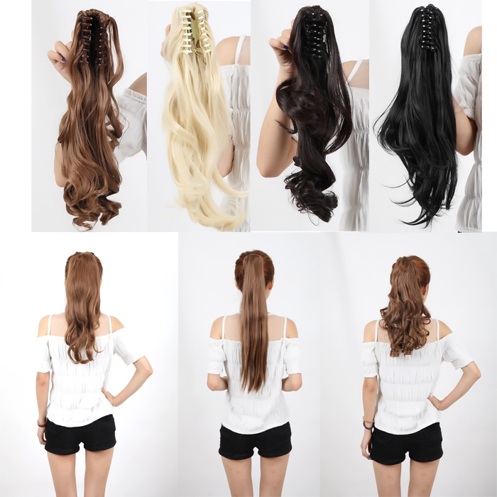Stroe Ponytail Clip In Hair Extensions Jaw Claw On Pony Tail As Remy