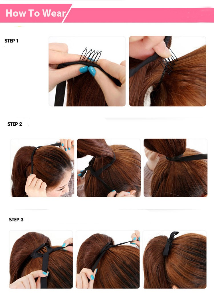 Lady Fashion Drawstring Clip In Hair Extension Braided Brown Black