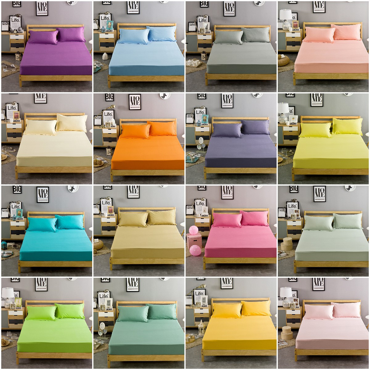 Solid Colors Fitted Sheet Cotton Bedding Cover Bed Sheet Set Pillow Case Comfort