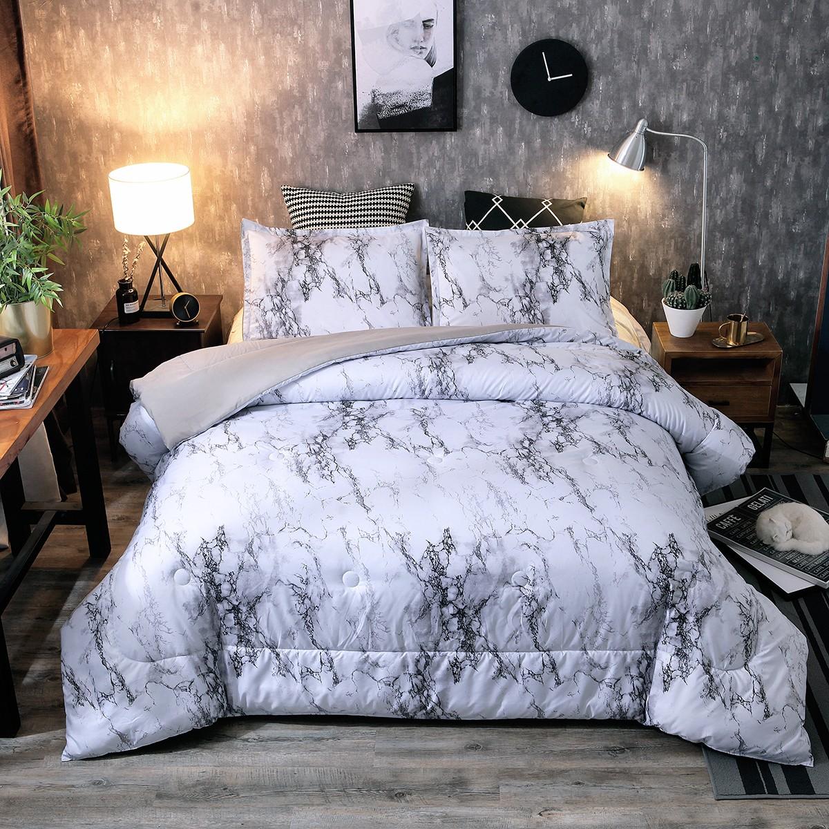 Ultra Soft Down Alternative Marble Comforter Set Gray Pillow Shams King Queen Us Ebay