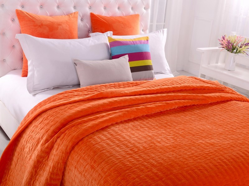 Orange Patchwork Quilted Coverlet Bedspreads Set Queen King SizeThrow  Blanket. You Can Choose The Different Bedding ...