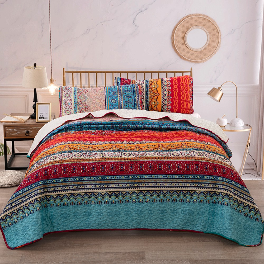 Striped Mandala Quilted Comforter Queen King Size Bedspreads Set