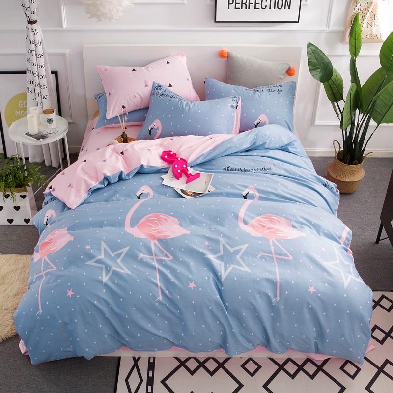 Flamingo Bedding Set Duvet Cover Cotton Quilt Pillow Cases Single Double King
