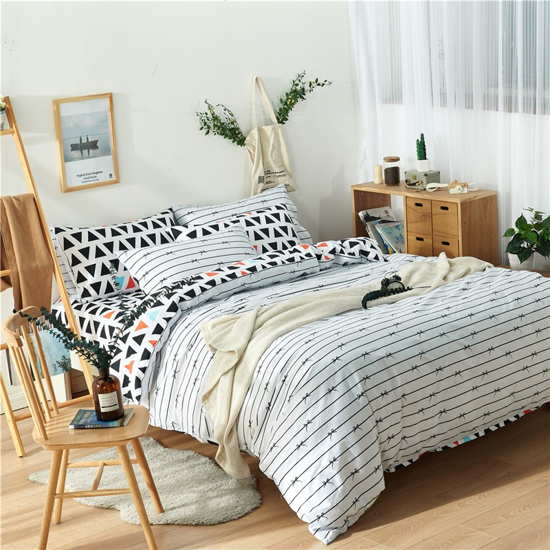 Striped Doona Quilt Duvet Cover Set Single/Queen/King Size Bed Linen  Geometric