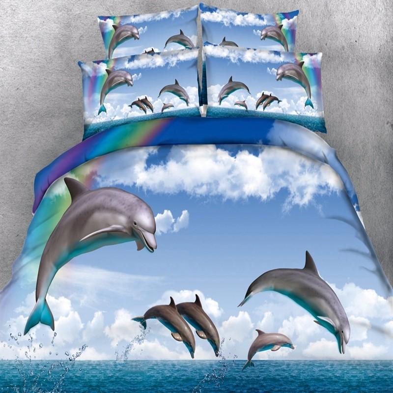 Dolphin Duvet Doona Quilt Cover Set Single/Queen/Super King Size ... : dolphin quilt - Adamdwight.com