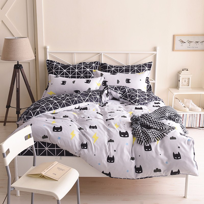 White Cartoon Pattern Polyester Soft Bedding Set 4pc/ 3pc Duvet Cover sheet+pillow Case Bedlinen King Size Honest Fashion Purple