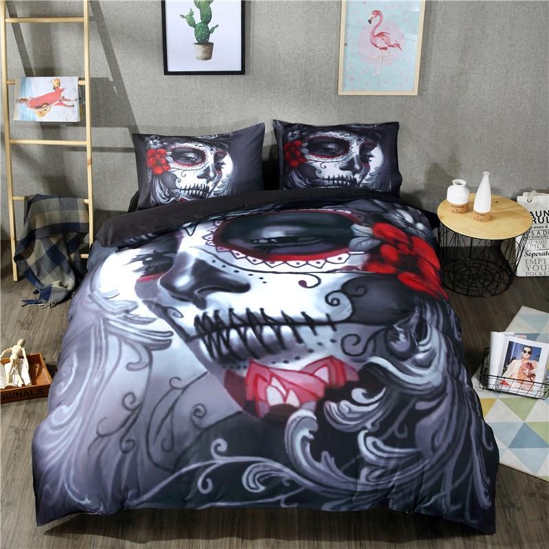Skull Dead Duvet Cover Bedding Set Twin Queen King Size Rebel Punk Soft Gothic