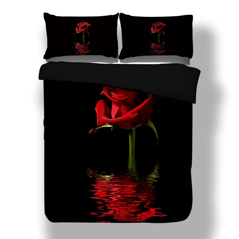 Rose Floral Bedding Duvet Cover Set Pillowcase Twin Full Queen King Red Black Hd Ebay