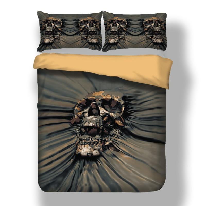 Skull Clay Duvet Cover Set Twin Full, King And Queen Skull Bedding