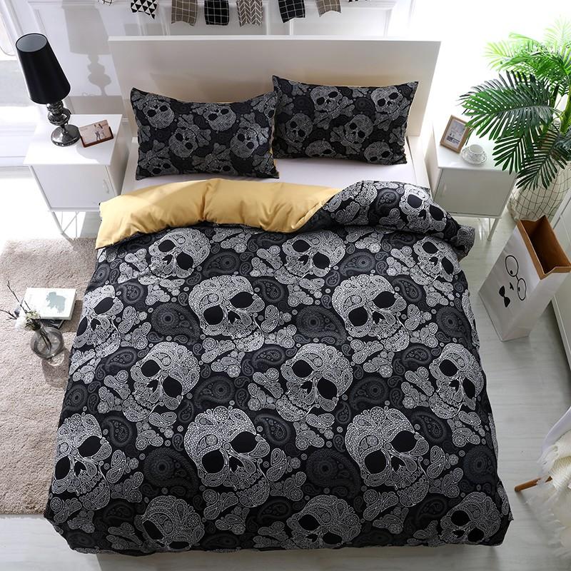 Skull Duvet Quilt Cover Set Twin Full Queen King Bedding Pillowcase Paisley Goth