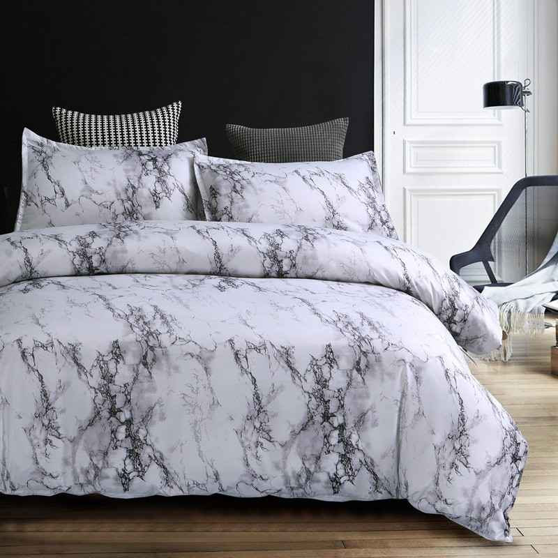 Marble Gray Duvet Cover Bedding Set Twin Queen King Size Quilt Cover Set Simple Ebay