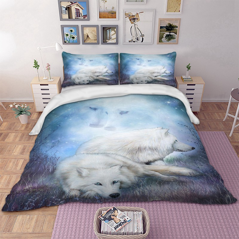 White Wolfs Bedding Set Duvet Cover Set Pillow Case Twin Full Queen Fascinating King Size Pillow Case Covers