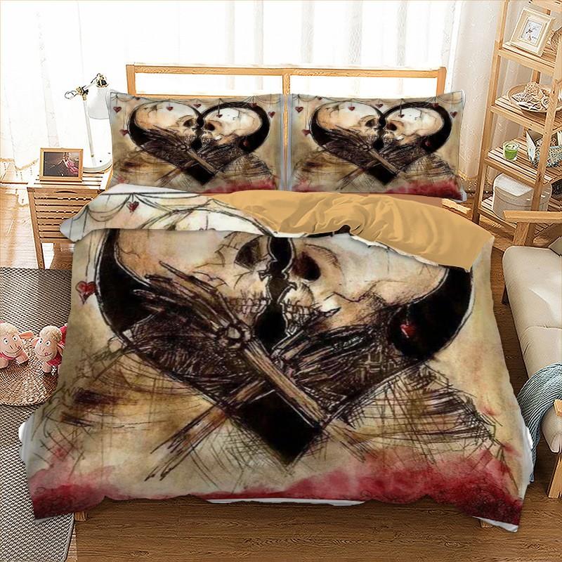 Skull Bedding Duvet Cover Set Twin Full, King And Queen Skull Bedding