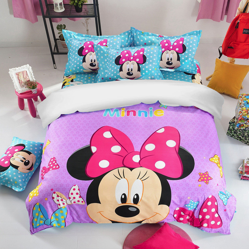 New Disney Mickey /& Minnie Mouse Duvet Cover KING pink blue grey Bedding