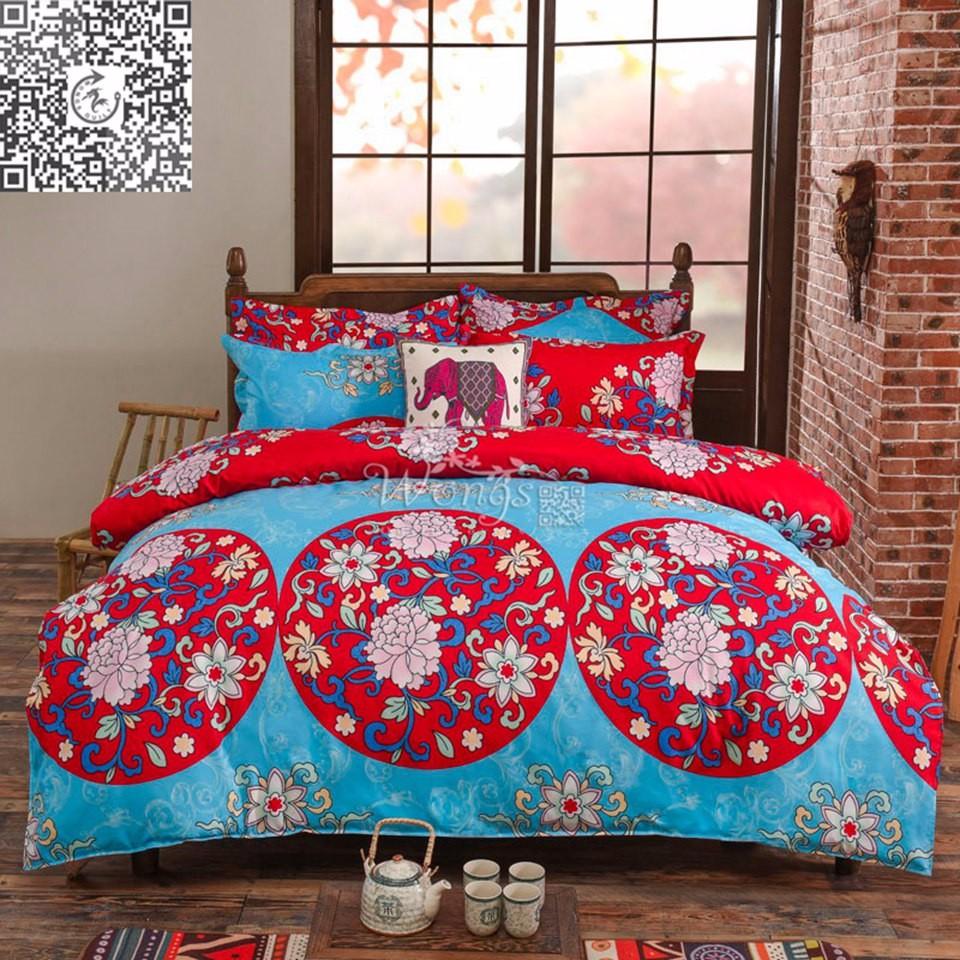 oriental mandala quilt doona cover set queen size pillow cases duvet covers set ebay. Black Bedroom Furniture Sets. Home Design Ideas