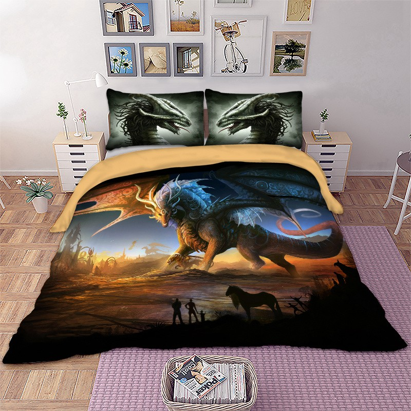 3d Dragon Duvet Cover Dinosaur Bedding, Dragon Bedding Sets Queen