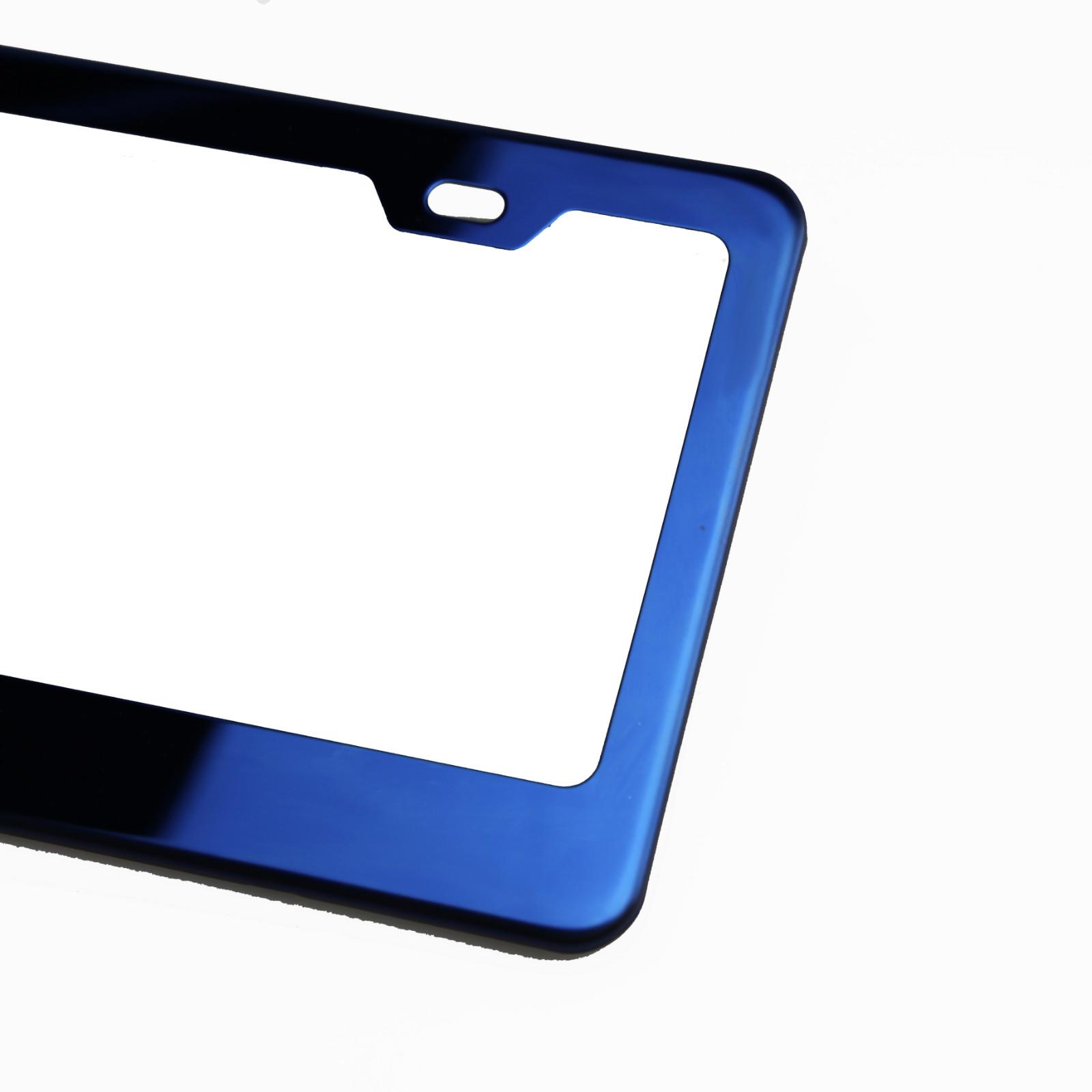 BLUE CADUCEUS Steel Heavy Duty Chrome License Plate Frame Tag Border BLUE