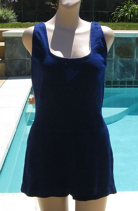 Vintage 30s Ocean Blue Victory Knitwear All Wool Swimsuit Bathing Suit