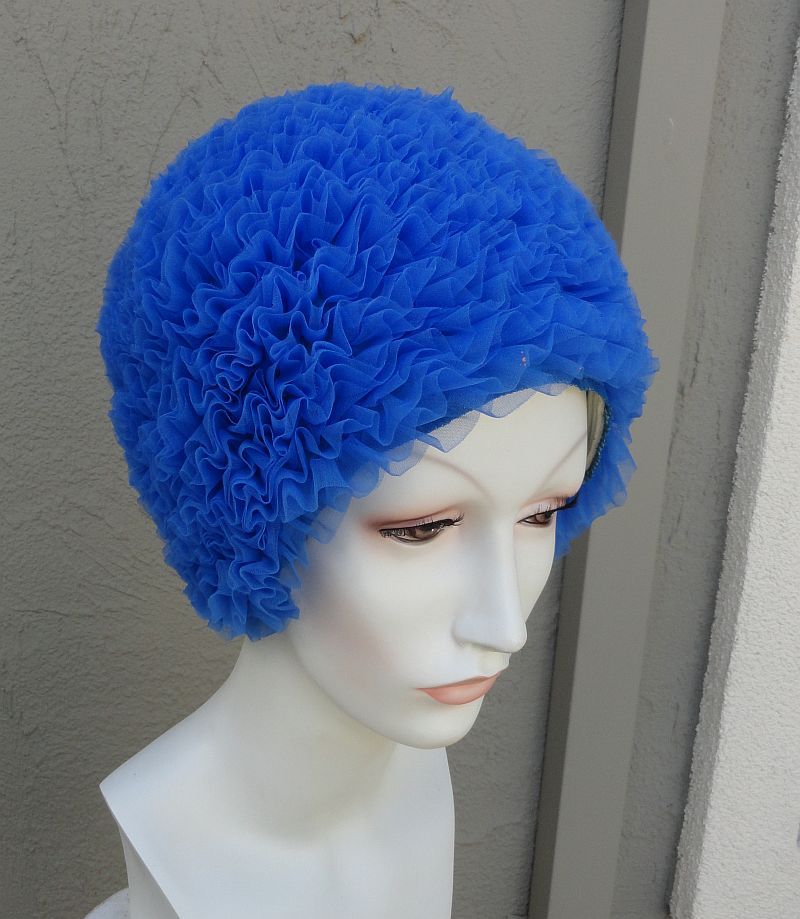 Vintage 60s Blue Ruffled Nylon and Rubber Swim Cap