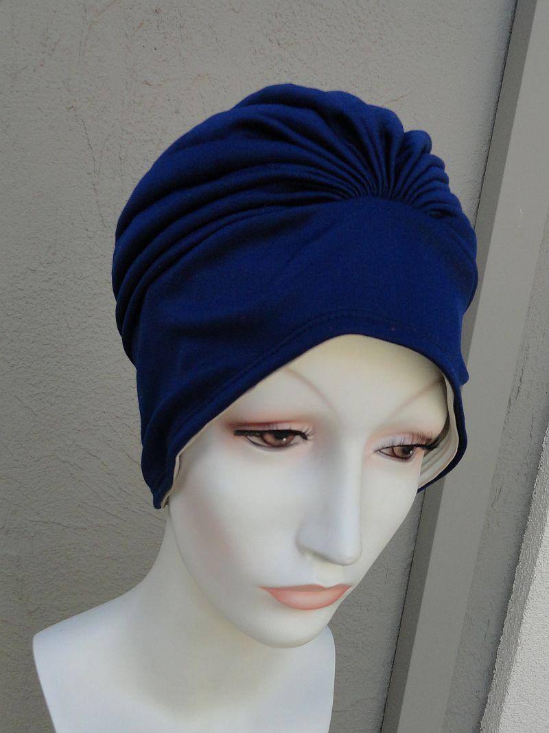 NOS Vintage Navy Blue Knit Turban Swimcap