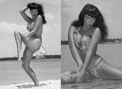 Bettie Page at the Beach by Bunny Yeager