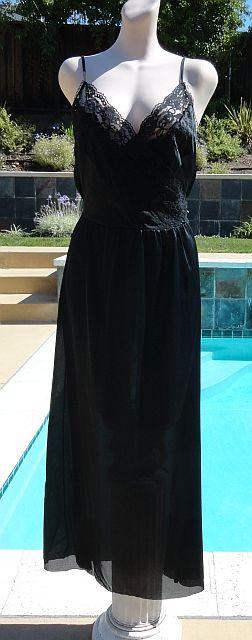 Vintage 70s Black Surplice Bust Nightgown size Large