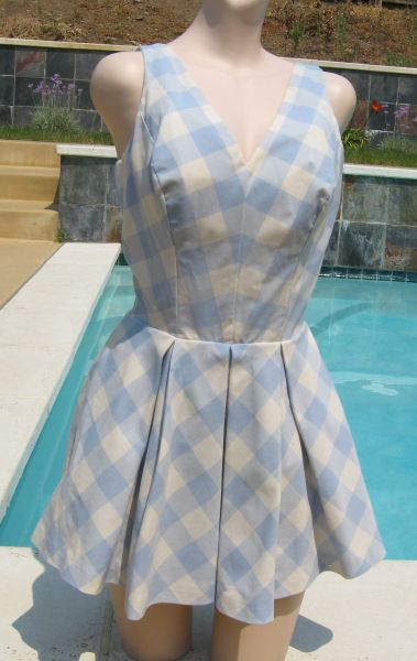 Vintage 60's Brigance for Sinclair Light Blue Plaid Playsuit Bathing Suit