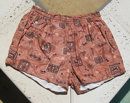 Vintage 50s Ethnic Print Cotton Swim Trunks