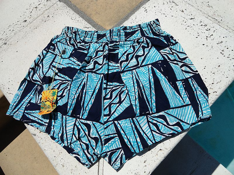 NEW Vintage 60s Blue Tapas Print Swim Trunks
