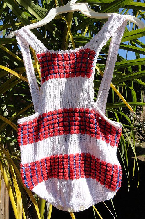 Vintage Popcorn Knit Childs Romper Swimsuit Sunsuit