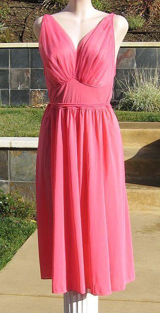 Vintage 50s Coral Pink Vanity Fair Grecian Romantic Nightgown Negligee