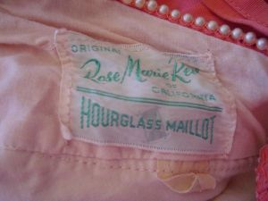 1950's Rose Marie Reid Hourglass Maillot Label