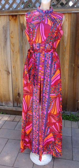 Vintage late 60s early 70s Wild Floral Over Dress Maxi Dress