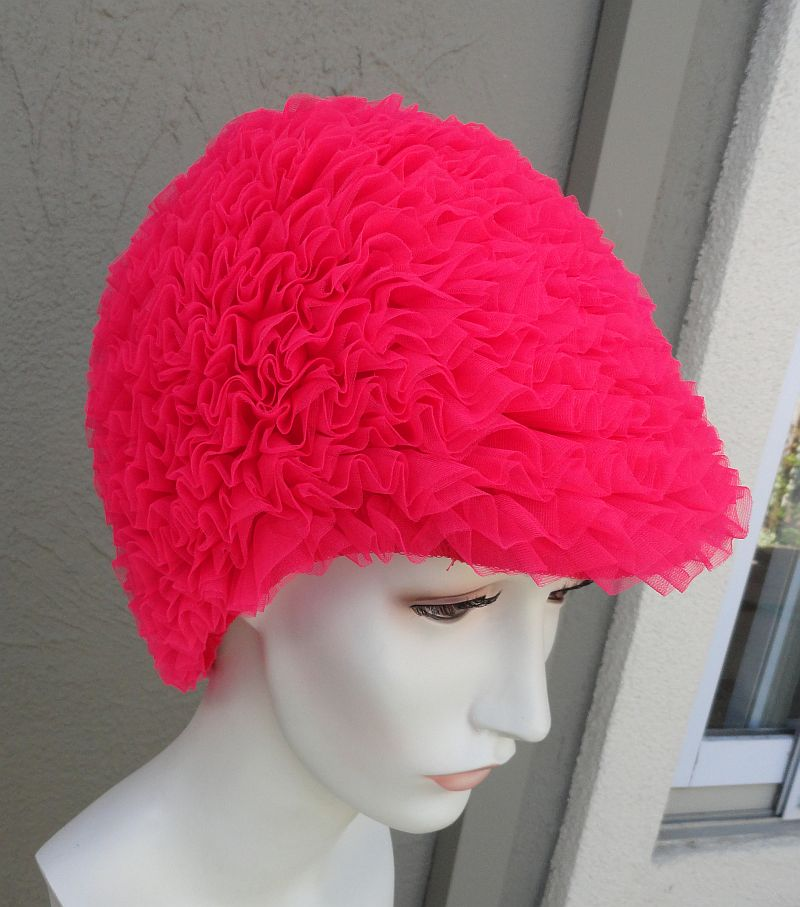 NOS Vintage 60s Hot Pink Nylon Ruffled Swimcap