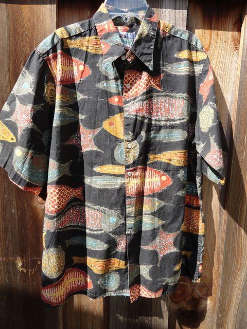 Vintage 80s 90s Reyn Spooner Fish Print Cotton Shirt