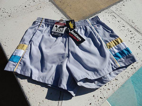 6adccd2722 NWT Vintage 80s Jantzen Silver Gray Swim Trunks
