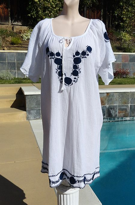 Mango Reef Mexican Style Embroidered Cotton Cover Up Caftan