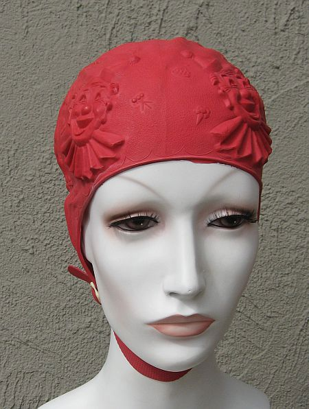 NEW with package US HOWLAND Circus Themed Red Rubber Swim Cap with Strap Childs 20