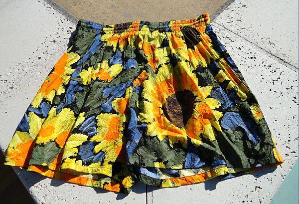Vintage Jams World Rayon Sunflower Floral Shorts Trunks