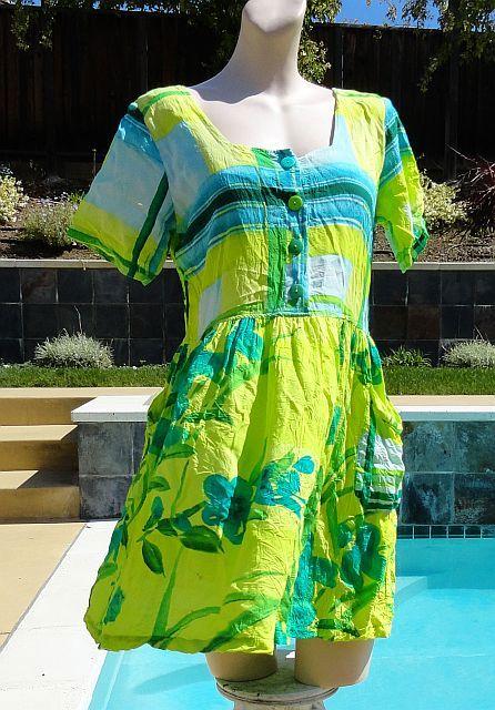 Jams World Plaid Pond Rayon Summer Sun Dress sz Small