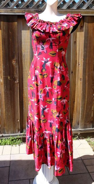 Vintage 50s Dianes of Honolulu Hawaiian Fishtail Gown Holomu'u Dress