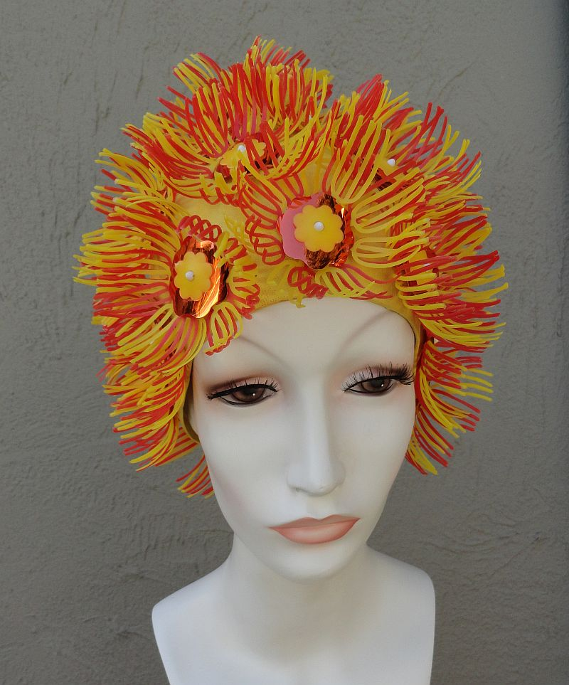 Vintage 60s Playtex Yellow Orange Sequin Petal Swim Cap