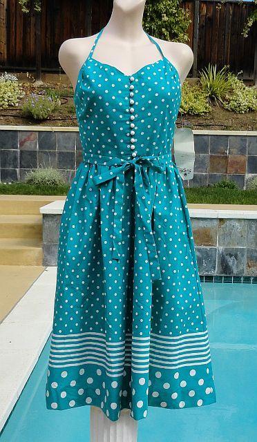 Vintage 70s Lanz Originals Teal Polka Dot Halter Sun Dress