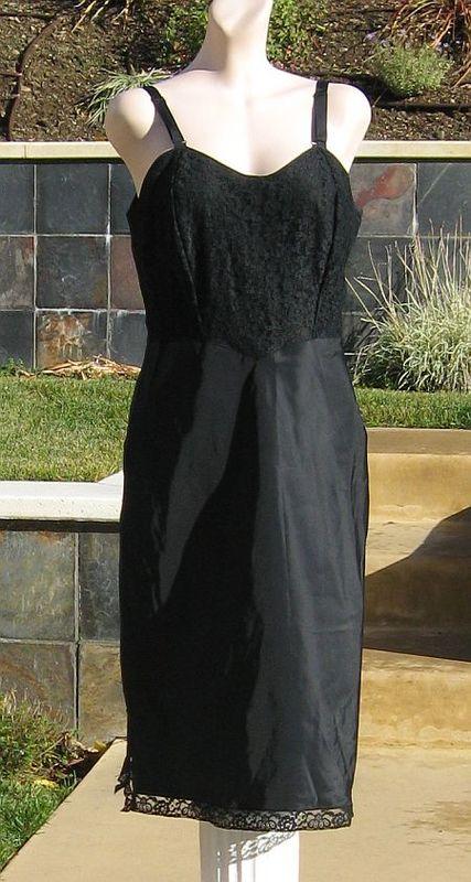 Vintage 60s Barbizon Tafredda Black Lace Full Slip
