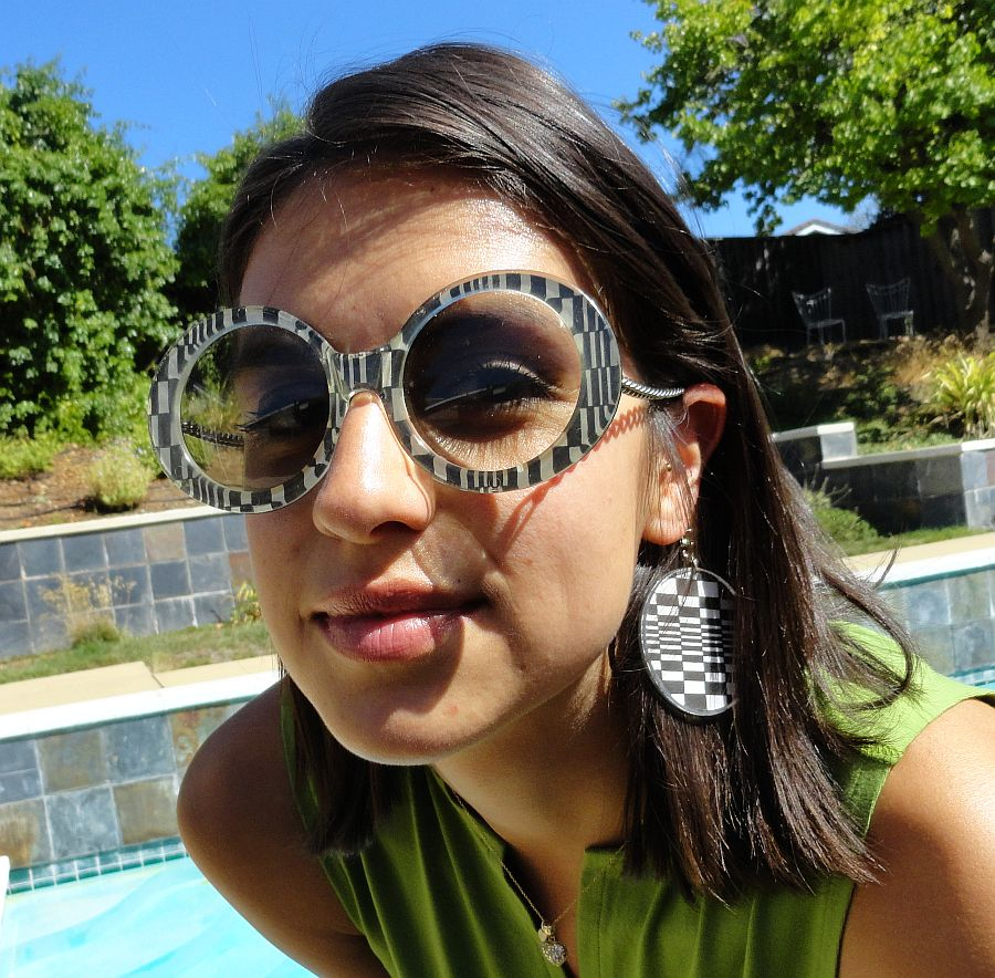 vintage 60s Op Art Sunglasses with Chain Arm and Earring Drops