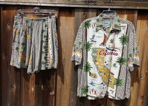 Vintage 80s 90s Reyn SpoonerSilky Rayon California Shirt & Swim Trunks